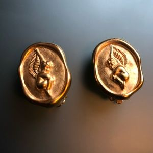GIVENCHY Vintage Cherub Gold Tone Clip On Earrings